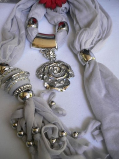 Other Women Gray Soft Scarf Necklace Silver Rhinestones Big Flower Charm