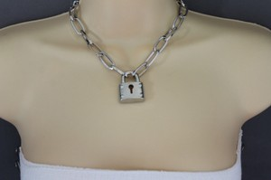 Women Gold Silver Metal Chains Lock Pendant Hip Hop Urban Fashion Necklace
