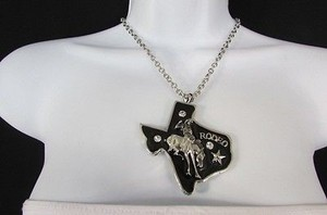 Other Women Long Necklace Silver Chains Big Black Texas Rodeo Horse Pendant 18