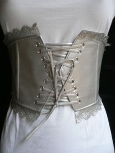 Other Women Elastic Silver Corset Flowers Tie Wide Fashion Belt Stretch Fabric