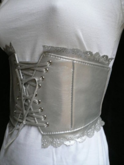 Other Women Elastic Silver Corset Flowers Tie Wide Fashion Belt Stretch