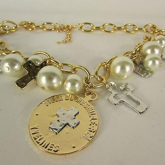 Other Women Gold Necklace Coin Cross Charms Imitation Pearls