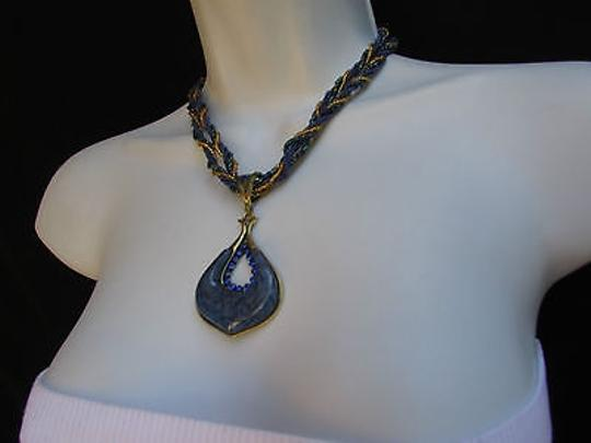 Other Women Strands Fashion Necklace Big Blue Glass Drop Pendant Rhinestones 10