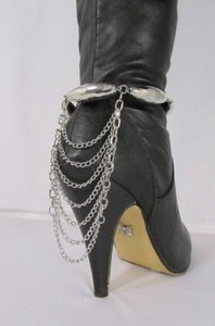 Women Trendy Fashion One Boot Shoe Gold Strap Chain Big Beads Gold Silver