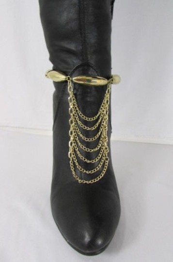 Other Women One Boot Shoe Gold Strap Chain Big Beads Gold Silver