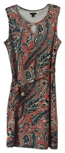 Ann Taylor Sheath Tie Waist Sleeveless Dress