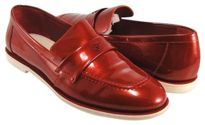 Chanel Loafers Slip On red Flats