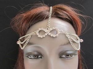 Women Silver Head Body Chain Fashion Jewelry Grecian Circlet Silver Beads