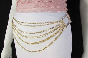 Women Gold Metal Chains Links Fashion Belt Big Sides Squares 28-42
