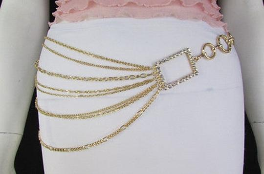 Other Women Gold Metal Chains Links Fashion Belt Big Sides Squares