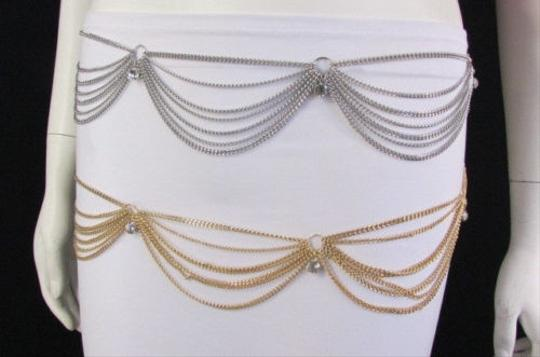 Other Women Silver Gold Thin Metal Chains Fashion Belt Rhinestone
