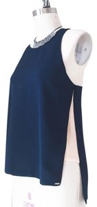 Line & Dot Modern Colorblock Racerback Wear To Work Day To Night Top Navy