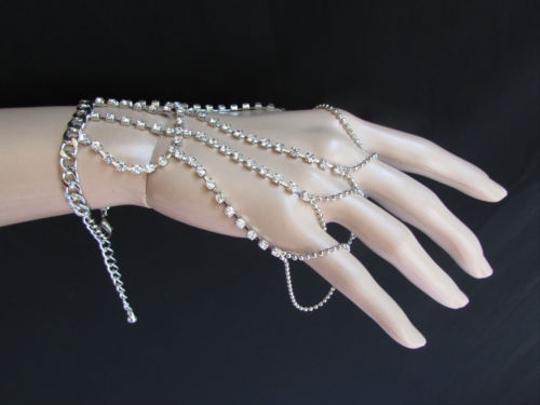 Other Women Silver Hand Chain Bracelet Five Fingers Slave Ring Five