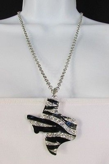 Preload https://img-static.tradesy.com/item/1931624/silver-women-chains-zebra-texas-state-pendant-rhinestones-necklace-0-0-540-540.jpg