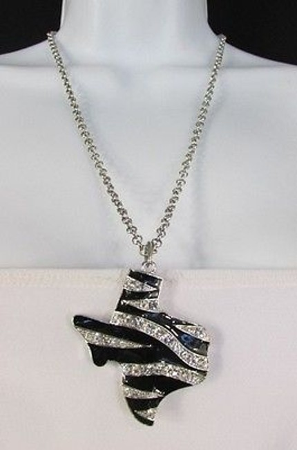 Alwaystyle4you Silver Women Chains Zebra Texas State Pendant Rhinestones Necklace Alwaystyle4you Silver Women Chains Zebra Texas State Pendant Rhinestones Necklace Image 1