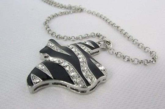 Other Women Silver Chains Necklace Zebra Texas State Pendant Rhinestones