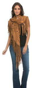 Elan Elan Synthetic Suede Cut Out Shawl with Fringe