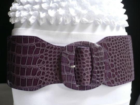 Other Women Elastic High Waist Hip 4 Wide Faux Leather Purple Belt 26-34 Xs-m