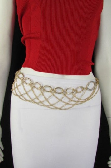 Other Women Silver Gold Metal Chains Fashion Belt Multi Oval Waves 28-42