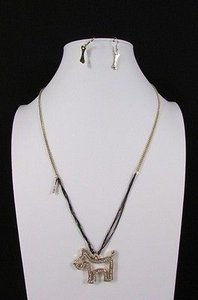 Other Women 28 Long Gold Black Fashion Necklace Big Dog Rhinestones Bones Earring