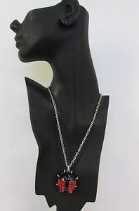 Women 22 Silver Chains Fashion Necklace Red Lady Bug Pendant Rhinestones