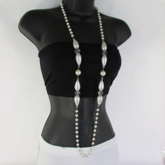 Preload https://item2.tradesy.com/images/multi-color-women-long-imitations-pearls-gray-beads-beige-silver-color-necklace-1931641-0-0.jpg?width=440&height=440