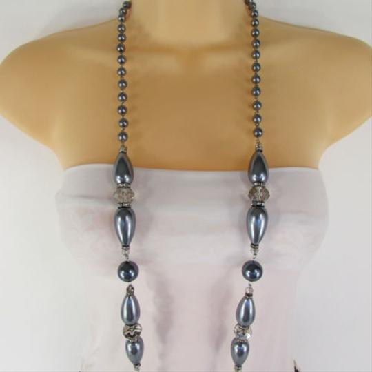 Other Women Long Imitations Pearls Necklace Gray Beads Beige Silver Color