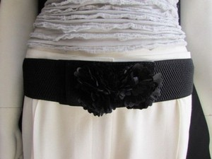Women High Waist Hip Black Elastic Fashion Belt Pom Poms Buckle 25-37