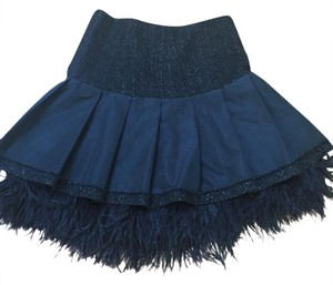 Worth High Wasted Feathers Cocktail Skirt Black