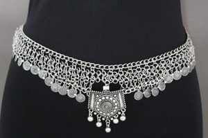 Women Silver Links Chains Moroccan Tradition Coin Fringe Metal Belt