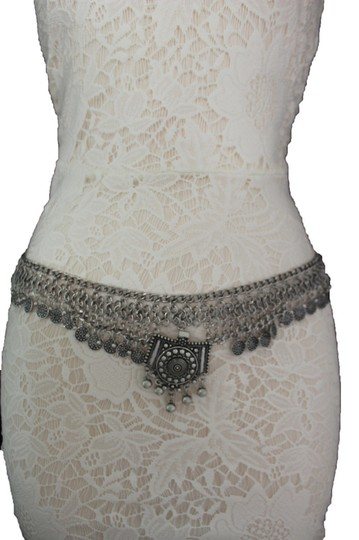 Other Women Silver Links Moroccan Tradition Coin Fringe Metal Belt