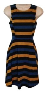 Bar III short dress Black, Blue, Gold Striped Stretch Sleeveless Zippered Back Free Shipping on Tradesy