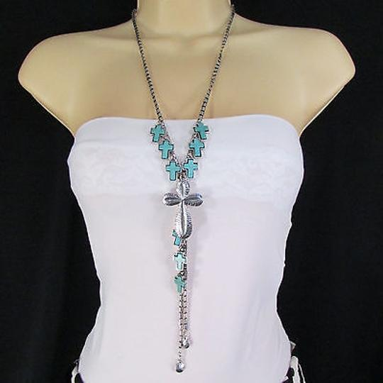 Other Women Long Silver Metal Cross Turquoise Fashion Necklace Earring