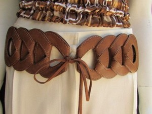 Other Women Waist Hip Brown Elastic Braided Fashion Belt Long Fringes 26-32