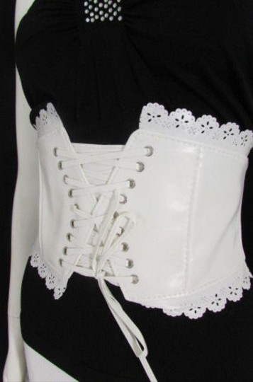 Other Women Elastic White High Waist Fashion Corset Belt Flowers 25-32