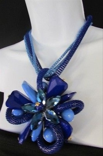 Other Women Fashion Necklace Earrings Set Blue Flower Beads Mesh Metal Strands Big