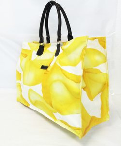 Longchamp Petals Cotton Canvas Abstract Tote in Yellow/White