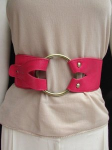 Other Women Waist Hip Pink Elastic Fashion Belt Huge Gold Ring Buckle 26-33