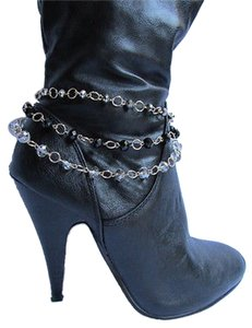 Women 1 Strap Gold Anklet Chains Boot Silver Black Pewter Beads Bracet Charm