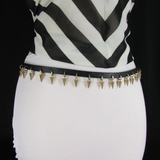 Other Women Gold Metal Spikes Black Narrow Fashion Belt Hip Waist 30-38