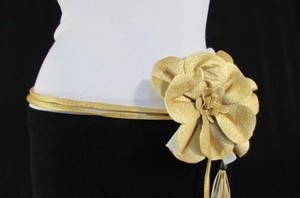 Women Summer Gold Big Flower Tie Fashion Fringe Belt One Fits All