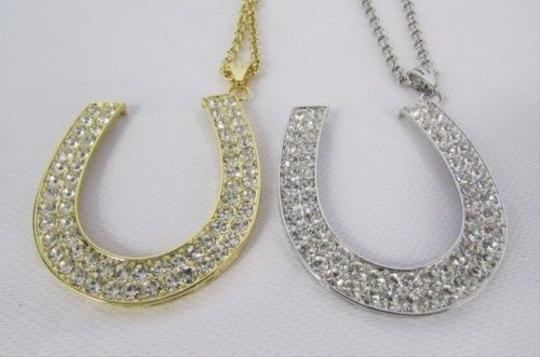 Other Women Necklace Fashion Metal Chains Horseshoe Pendant Gold Silver 30 Long