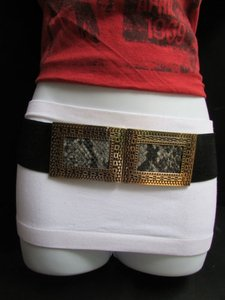 Other Women Hip Waist Stretch Black Fashion Belt Snake Print Buckle 27-35