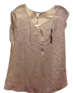 Banana Republic Brand New Tags Sleeveless Button Down Shirt Withe with blue polka dots