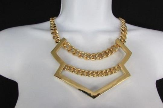 Other Women Necklace Earring Set Short Metal Fashion Gold Silver Wide Arrow