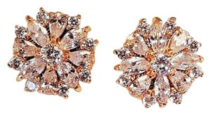 Brilliant Gold Plated Cz Stud Earrings