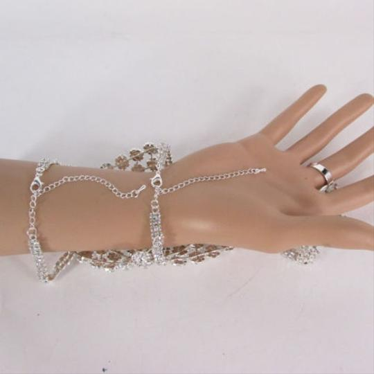 Other N. Women Silver Rhinestones Slave Ring Fashion Bracelet Mini Flowers Hand Chains