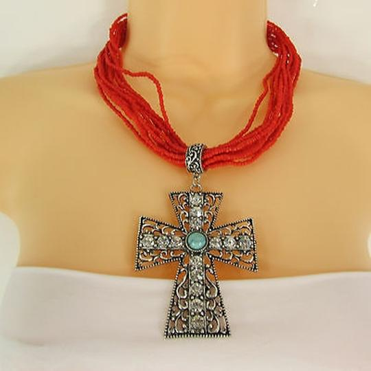 Other Women Red Blue Tuequise Beads Necklace Strands Big Cross Pendant Earring Set