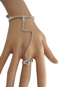 Other Damen Silber Thin Metall Mode Handkettenarmband Sklaven Ring Armbanduhr Mini