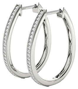 Elizabeth Jewelry 10Kt White Gold 0.15 Ct Diamond Hoop Earrings